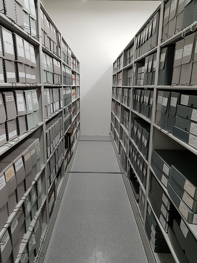 Full Shelves in the New Archives Office (JPG)