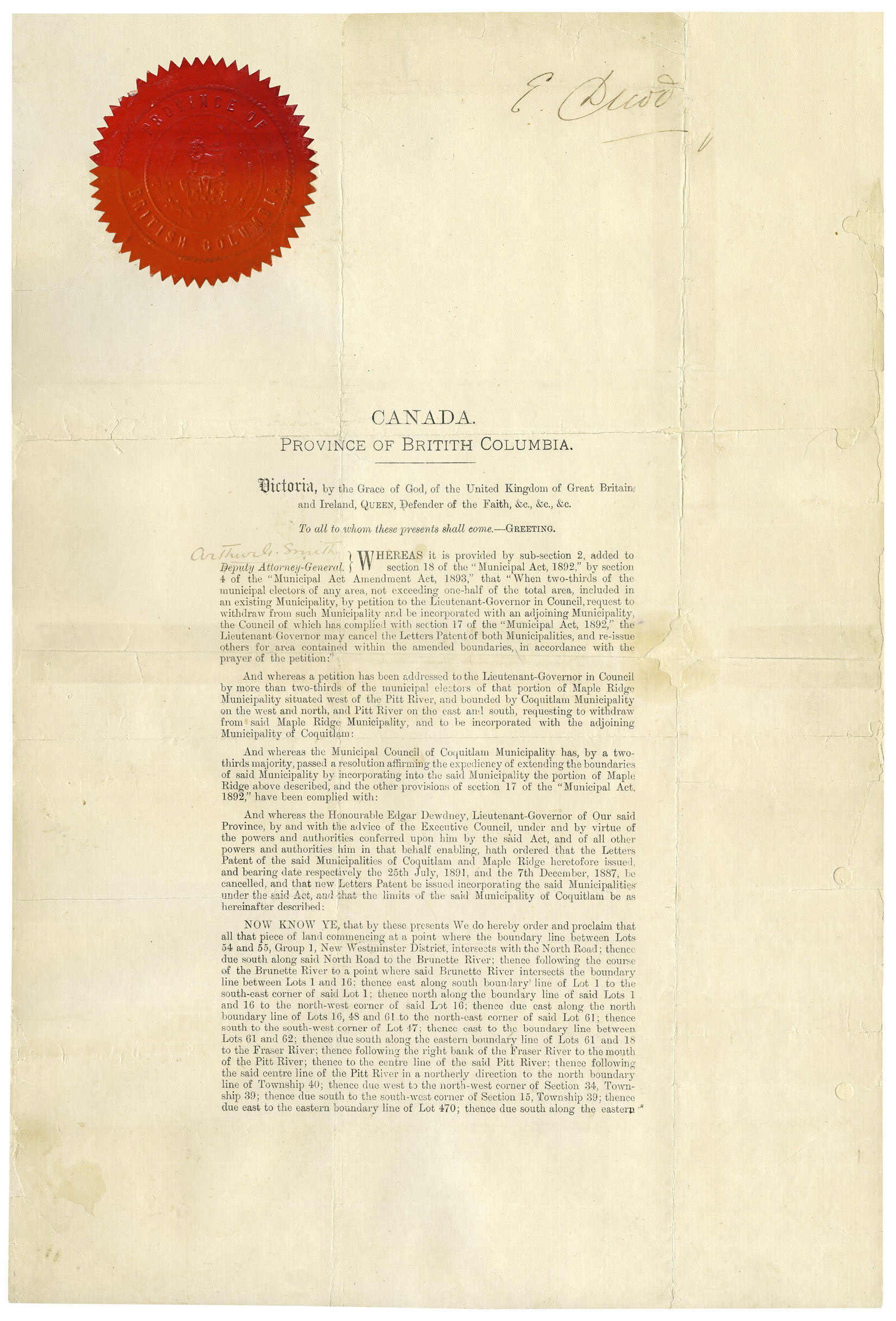 Letters Patent, 1894 (JPG) Opens in new window