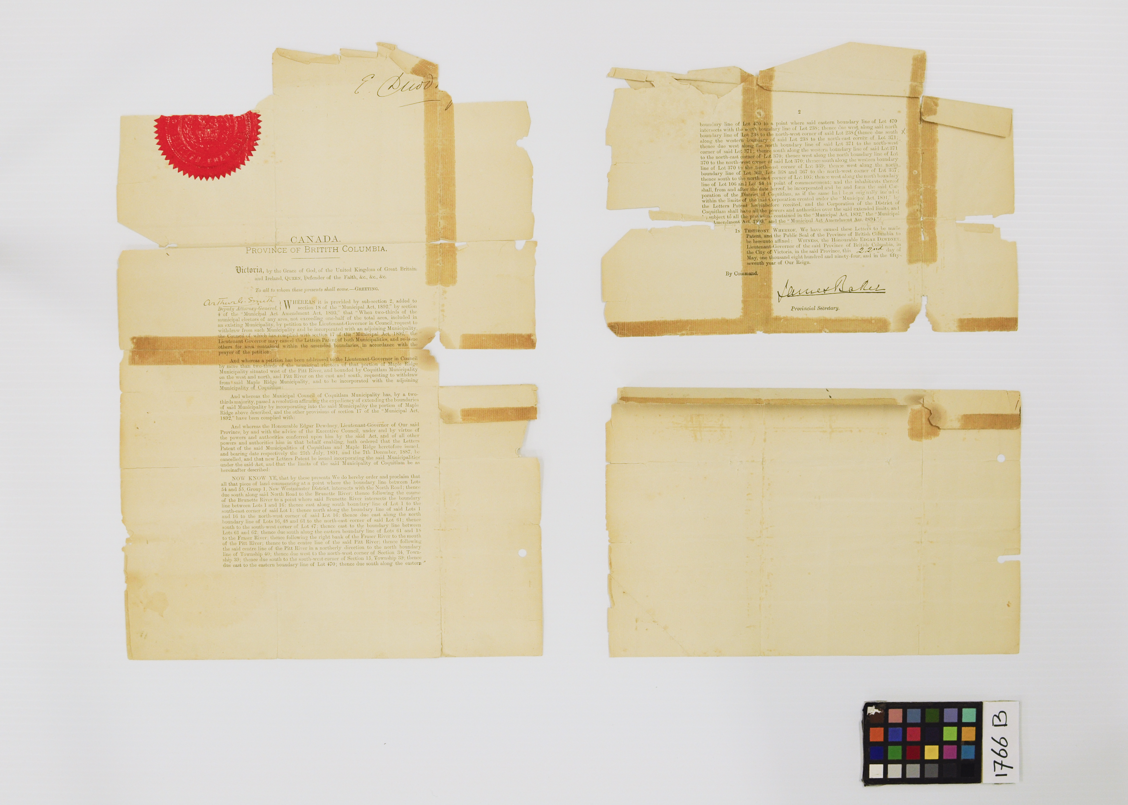 Letters Patent 1894, Before Treatment (JPG) Opens in new window