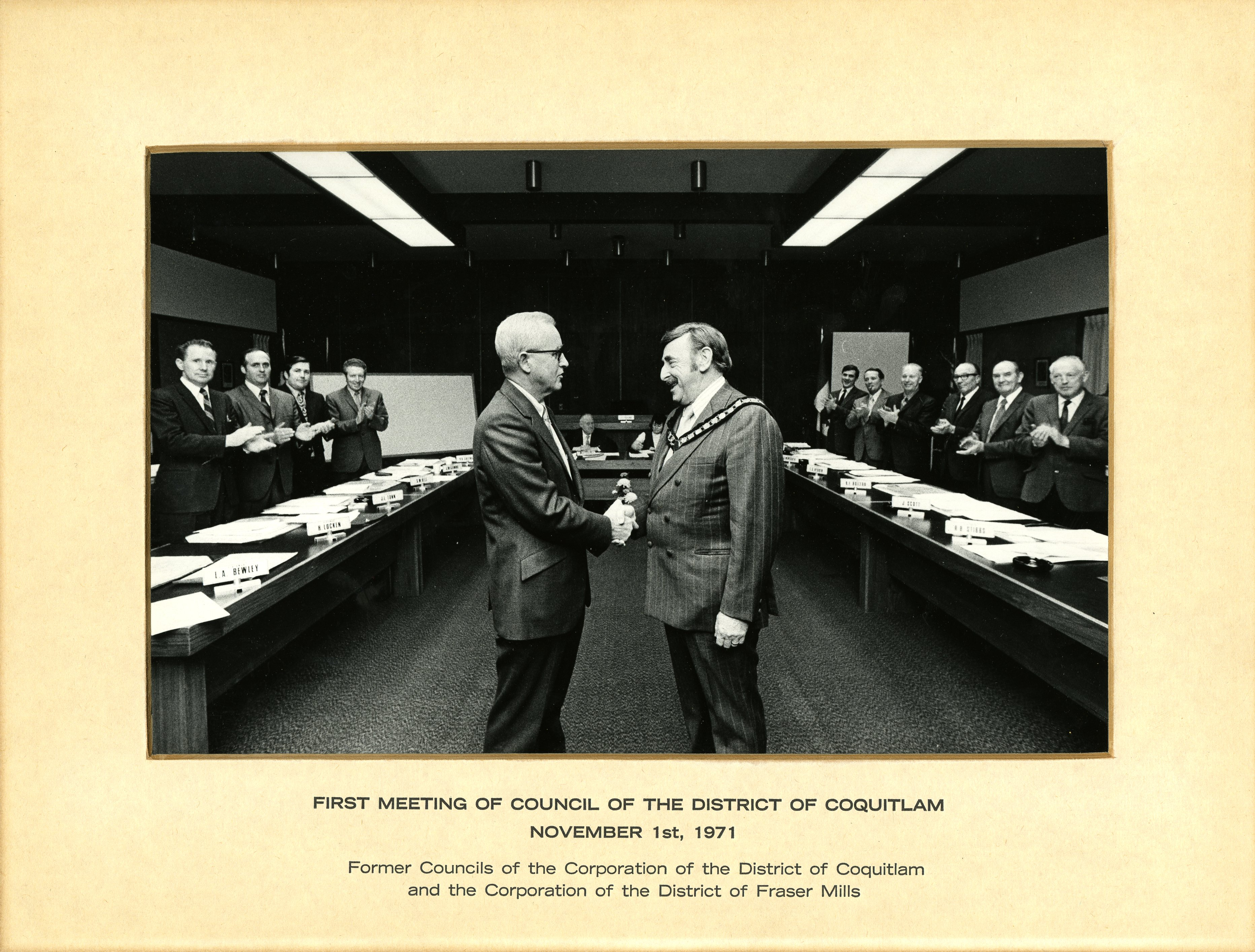 First Meeting of Council of the District of Coquitlam, November 1, 1971 (JPG) Opens in new window
