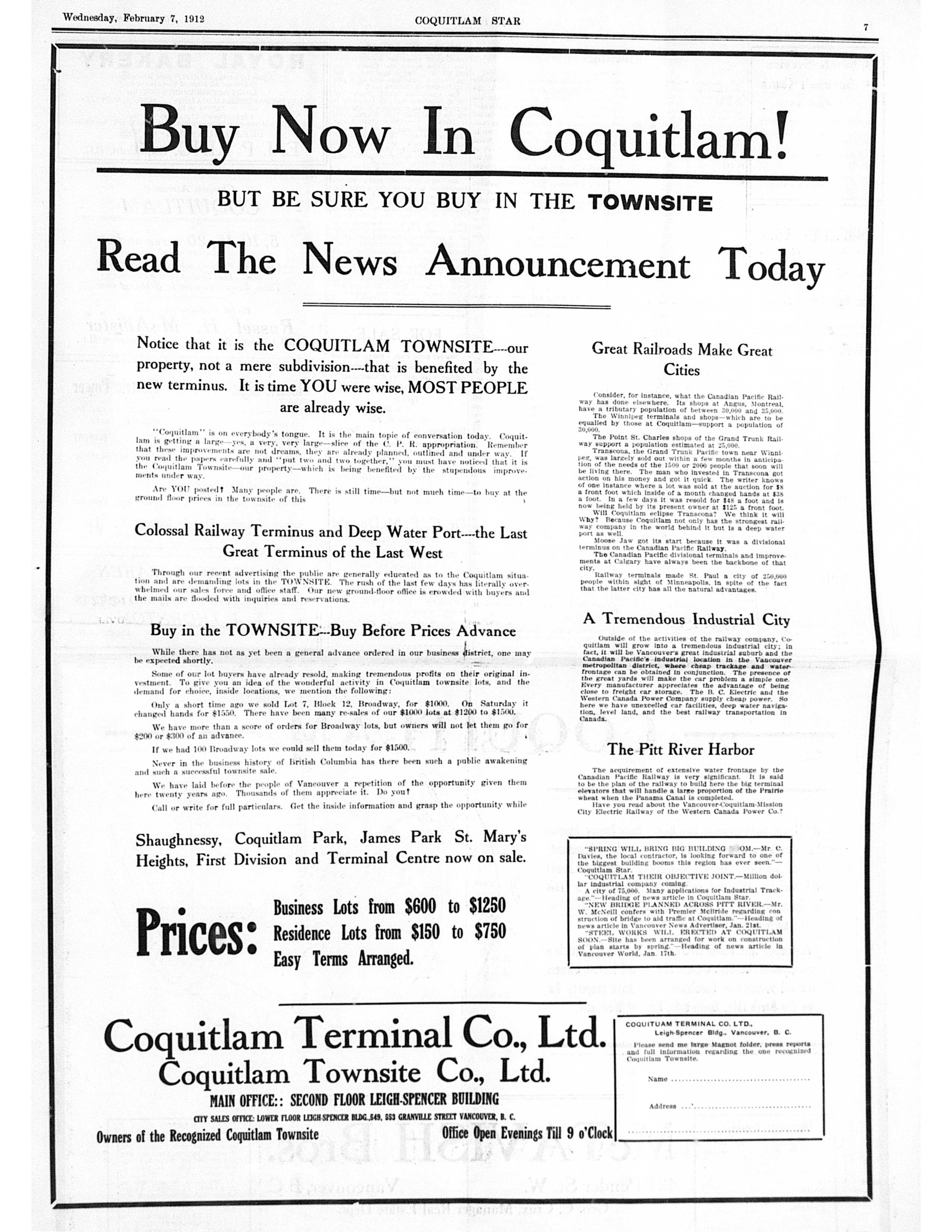 Advertisement, Coquitlam Star, 1913 (JPG) Opens in new window