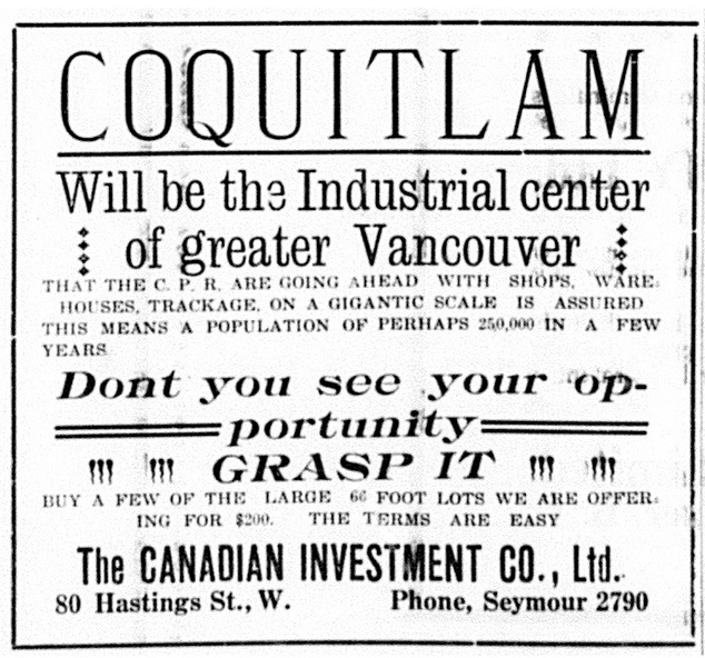 Advertisement, Coquitlam Star, 1911 (JPG) Opens in new window