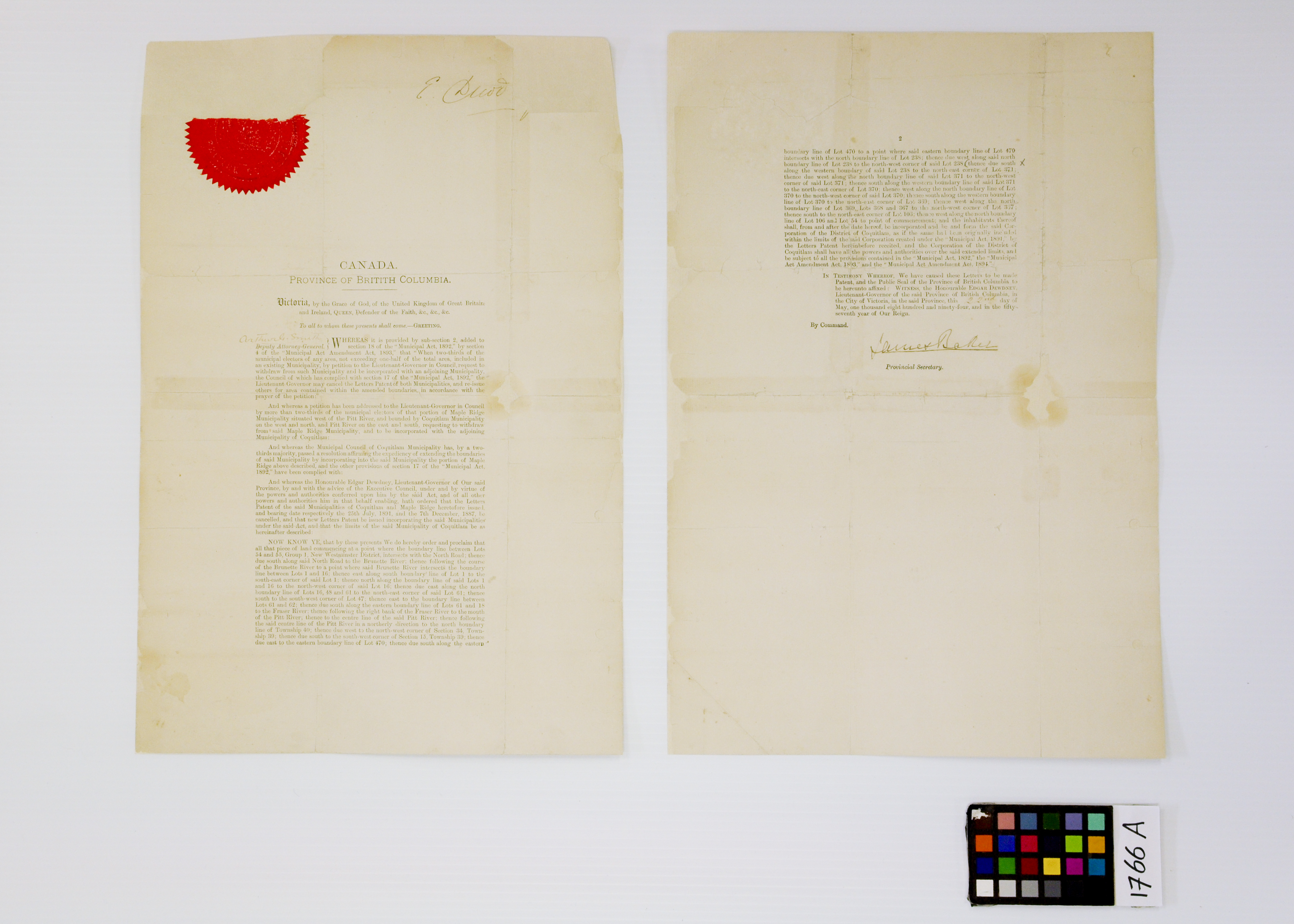 Letters Patent 1894, After Treatment (JPG) Opens in new window