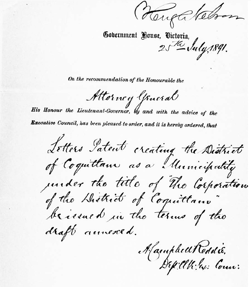 Order-in-Council, July 25, 1891 (JPG) Opens in new window