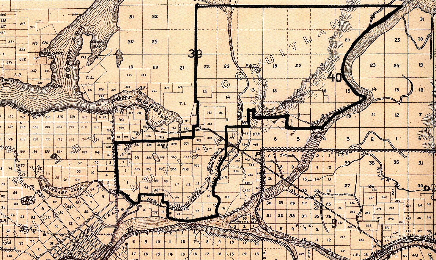 Coquitlam's 1913 Boundaries Drawn on a Map of New Westminster District from 1892 (JPG) Opens in new window