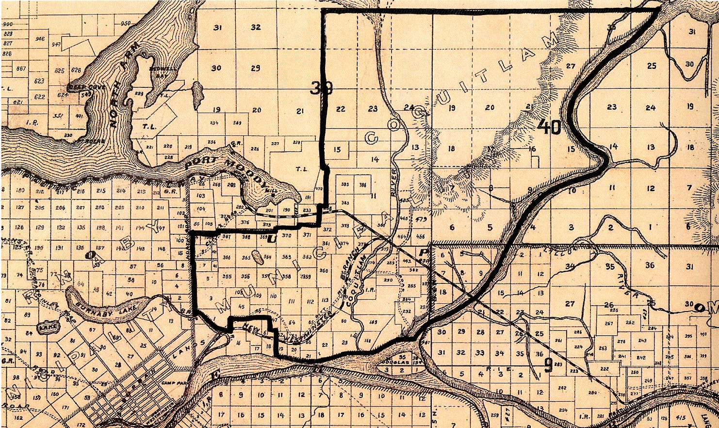 Coquitlam's 1894 Boundaries Drawn on a Map of New Westminster District from 1892 (JPG) Opens in new window