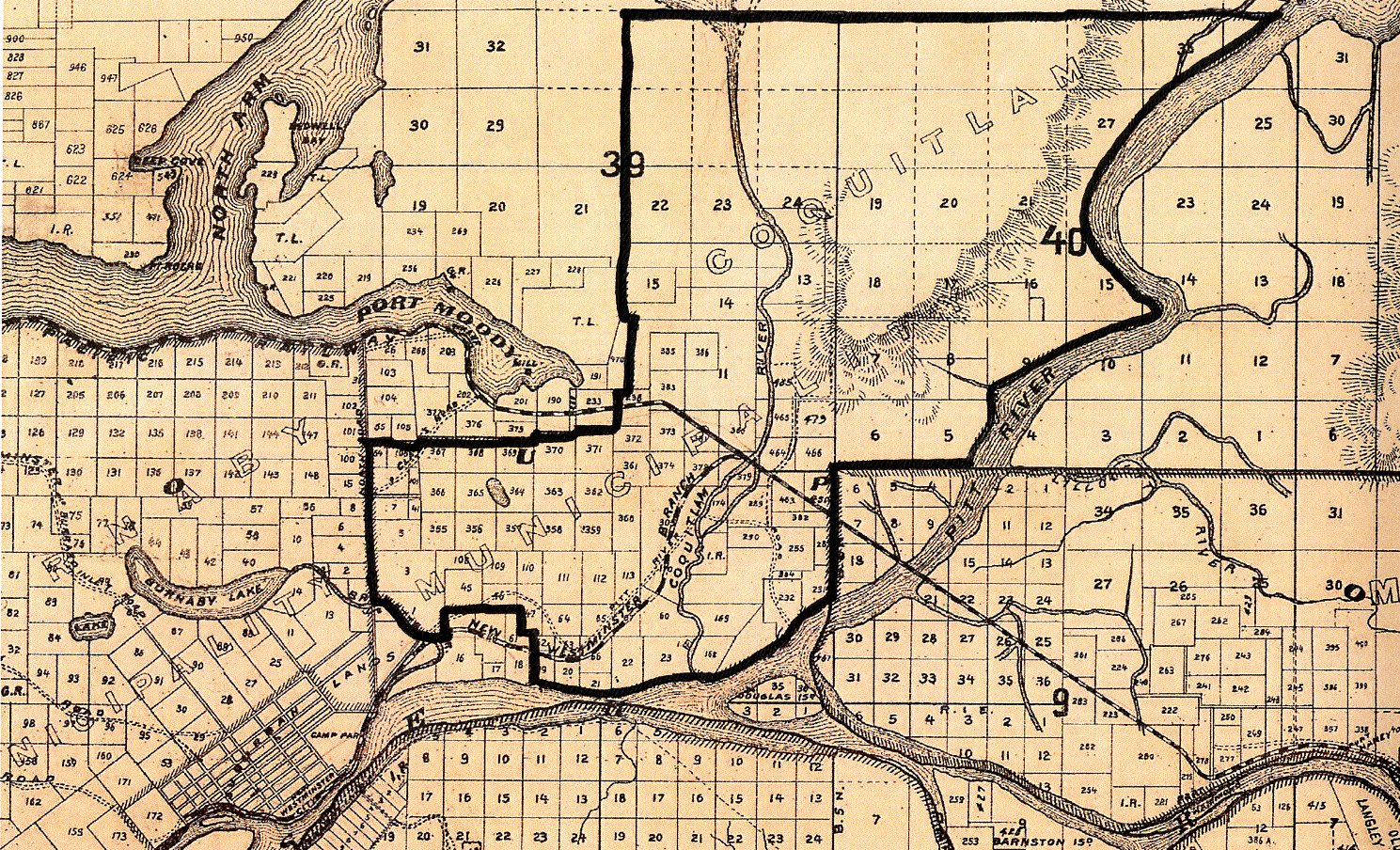 Coquitlam's Original Boundaries Drawn on a Map of New Westminster District from 1892 (JPG) Opens in new window